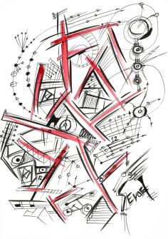 Original Drawing by Sevard, N22, 29.7 x 21 mm